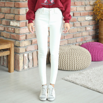 Autumn and winter plus velvet padded white pencil high waist slimming leggings