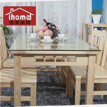 组合 简约 餐桌/逸家实木家具 餐桌钢化玻璃松木餐桌椅组合现代简约长方形木桌子