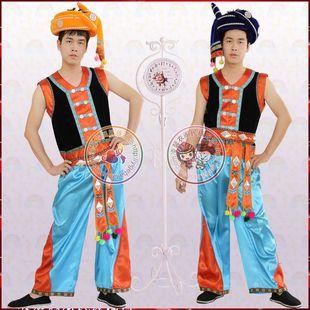 拉祜族民族舞蹈演出服装男成人男装云南少数民族服装民族服饰原创