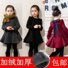 Children's dress girl's dress autumn winter 2019 thickened Plush Korean version baby warm long sleeve Princess bottomed skirt