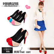 2014 new autumn Korean ss round waterproof high heels shoes with the students of fine red wedding shoes