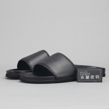 Milan password/spot Buscemi Slide slp15-1001 series produce black leather slippers men