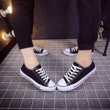 Spring and autumn Korean flat sole flat heel lace up canvas shoes