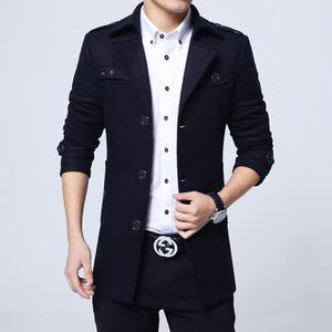 冬季风衣男中长款加厚大码商务休闲修身男士毛呢大衣韩版呢子外套男士毛呢外套