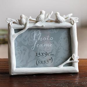 5寸6寸7寸8寸三只鸟树脂相框创意照片框小鸟摆台彩绘家居饰品相框