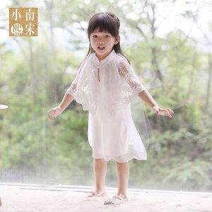 改良中式旗袍儿童蕾丝长裙真丝皱新品包邮女童高品古筝表演出服夏儿童旗袍