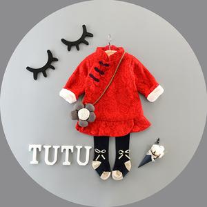 图图的商店公主裙女童旗袍连衣裙加绒儿童唐装新年婴儿宝宝冬装裙婴儿唐装