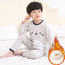 Children's warm underwear set, plush and thickened cotton, boys and girls' autumn clothes, autumn pants, babies' middle and big children's clothes, winter
