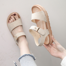 Net red new style Hong Kong style flat bottom thick bottom muffin sandals