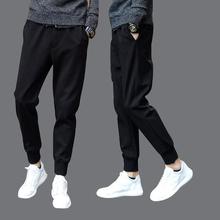 Lace up black spring Korean cropped pants