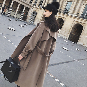 夏诗文定制  秋冬装新款双排扣风衣式毛呢外套女系带收腰长款大衣女毛呢大衣