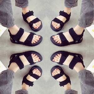 凉鞋女夏季2017新款女鞋平底百搭韩版学生软妹原宿风学院沙滩运动女鞋