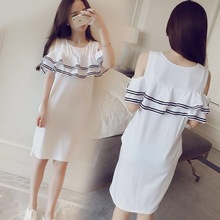 2019 new Korean maternity summer top loose pregnancy summer long off shoulder maternity dress