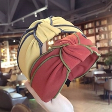 New all-in-one simple hair ornament hairpin women's fabric double-layer middle knot wide edge hair hoop head hoop press to close