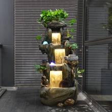 Rockery, water fountain, wind water wheel, fish pond, Waterscape, step by step, courtyard, living room decoration, creative display.