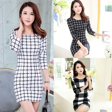 2019 spring and autumn new Plaid Dress ol Korean version slim large temperament long sleeve print bottom skirt woman