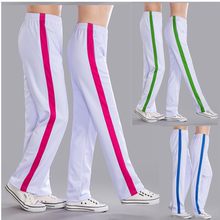 White sports pants for men and women sports pants fitness exercise square dance games school uniform pants quick drying loose bar pants