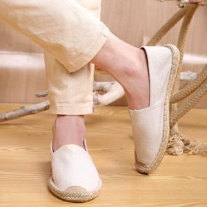 老北京布鞋男草编麻布鞋防臭懒人轻便一脚蹬中国风青年帆布鞋男鞋老北京布鞋