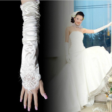 Wedding dresses the bride gloves accessories so cubits long fingerless milky red tick refers to the long gloves fold