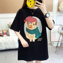 New BF style mid long Pullover short sleeve T-shirt in 2019 summer