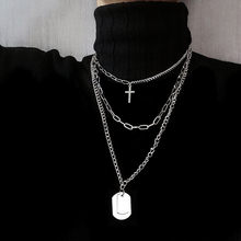 Ins cold wind necklace, male character, European and American trend, multi-layer hip-hop men and women, pendant cross sweater chain