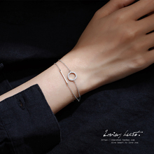 Whole body S925 sterling silver, rose gold bracelet, female Korean Edition, simple circle, student personality, intimate girlfriends, and double clean.