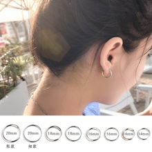 Earring, female circle, male temperament, Korean personality, all kinds of small round earrings, large circle, pure silver earrings