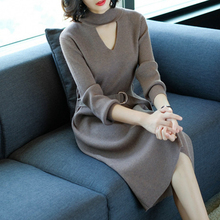 Autumn and winter cultivation, waist high collar, thickened knitted bottoming dress