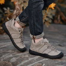Saudi camel leather hiking shoes, men's autumn winter wear and light outdoor sports waterproof and antiskid shoes plus velvet