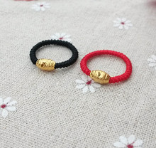 24K gold-plated transfer bead rings a pair of long lasting red rope and black rope woven male and female couple rings