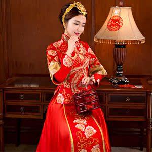 秀禾服新娘结婚敬酒服 长袖龙凤褂中式婚礼嫁衣大码修身长款礼服旗袍长款