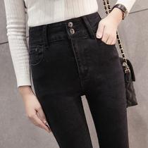 Slim slimming high waist black in autumn and winter plus velvet pencil pants