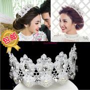 novia Envío libre Continental corona reina tiara nupcial accesorios para el cabello pelo largo diamante del cordón de Corea tiara diadema