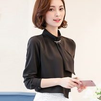 Korean version of the slim bow tie solid color shirts