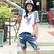 Hole in the Korean version of the slim Jean shorts hot pants loose denim Pant hem five shorts women thin summer